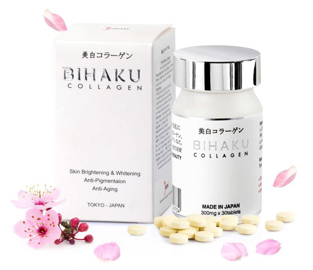 Viên uống trắng da chống lão hóa Bihaku Collagen 30 viên Nhật Bản